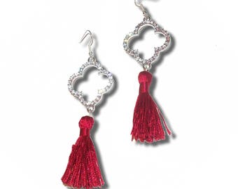 FIOCCA red and silver tassel earrings