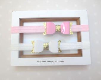 Pink White Baby headband, infant headband, baby headband bow, baby hair bow, girl hair bow, toddler headband,newborn headband,baby hair clip