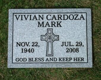 """Granite 2"""" grass or flat head stone- grave marker"""