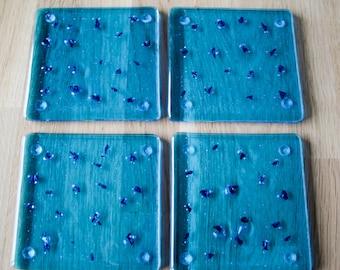 Fused Glass Coasters - set of 4 - aqua blue/turquoise with copper flecks