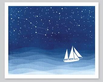 Sailboat Print watercolor painting nautical print, wave ocean sea blue starry night, big dipper, nursery art wall decor illustration VApinx