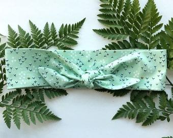 Mint Green Floral - Headband Headscarf Neckscarf Adult