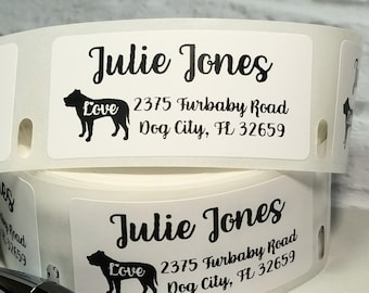 "1"" x 2"" Personalized Pit Bull Address Labels, Dog Mailing Labels, Dog Breed Labels, Dog Lover, Pit Bull Stickers, American Bully Labels"