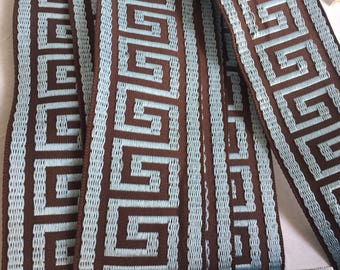 "1 Yard  Blue/Brown 1-3/4""  Greek Key Trim, 45mm Greek Key Jacquard Trim, Greek Key,45 mm Woven Jacquard Greek Key Trim"