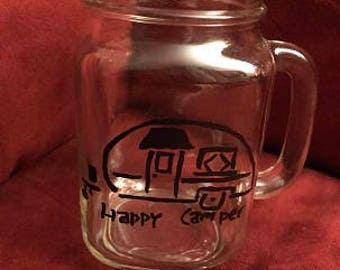 Happy Camper Hand Painted Glass
