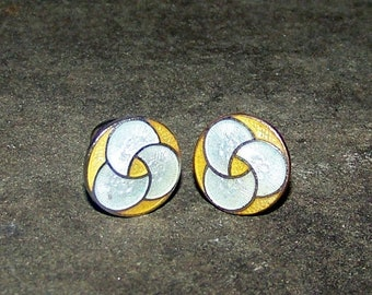 ON SALE Vintage Guilloche Enamel Cufflinks Yellow And White