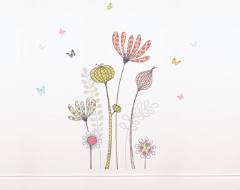 Flowers and Butterflies - kid wall decal