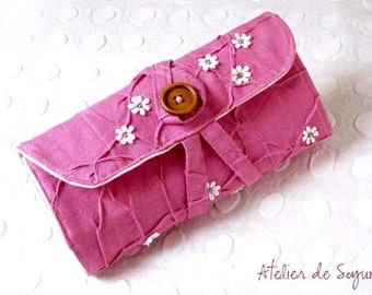 Knitting Needle Case DPN double pointed needle sock needle case mitten needle in Magenta Fuchsia Pink