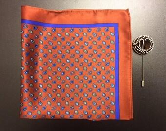 Silk Pocket Square and Lapel Pin