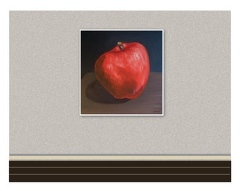 A Red Apple - Original Painting Printed on Canvas, Fine Art Print, Ready To Hang, Food Art