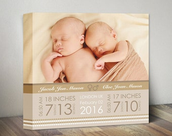 Twins Birth Announcement Canvas, Twins Birth Gift, Twins Stats Nursery Wall Decor, Twins Gift, Twins Birth Stats, Twin Babies Wall Art Gift