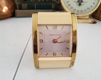 Westclox Art Deco Wind Up Roll Top Travel Alarm Clock Illuminated Dial