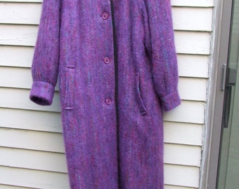 Vintage Purple tone Mohair Coat and Scarf  ala 1980s