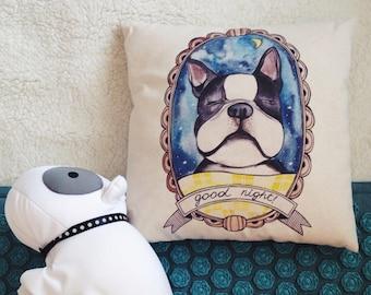 Bulldog pillow. French bulldog organic cotton pillow. New Year gift. Doggie gift. Dog decor. French design good night.