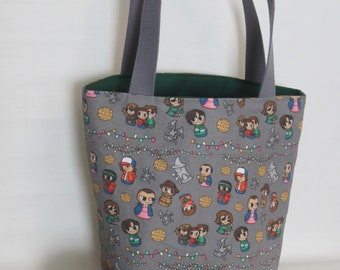 Large Knitting or Crochet Project Bag. Stranger Things Canvas Tote Bag with Pockets.