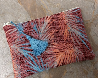 The Small Clutch - Palm Frond Zippered Clutch with Tassel