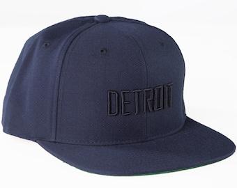 navy Detroit snapback hat
