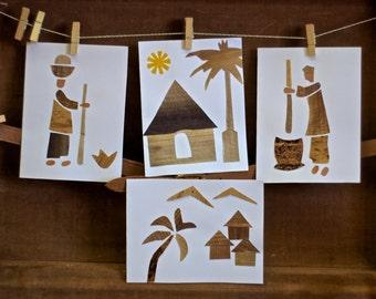 Village Scene Greeting Cards