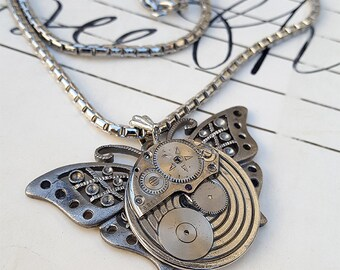 Steampunk Butterfly Necklace Pendant -Watch Part Necklaces- Vintage Butterflies Gifts for Steampunk Loving Friend