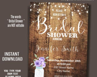 Bridal Shower Invitation, purple flowers mason jar, rustic wood invite, Instant Download, Printable Editable Digital PDF file A063-A236