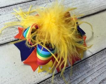 Rainbow Over The Top Hair Bow, Girls Hair Bow, Multi Color Over The Top Hair Bows, Baby Headband ,Rainbow Hair Bow, Ostrich Feather Hair Bow
