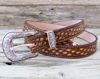 Vegetable tanned leather belt Country Western