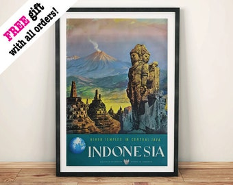 INDONESIA TRAVEL POSTER: Vintage Hindu Temples Tourism Advert, Art Print Wall Hanging