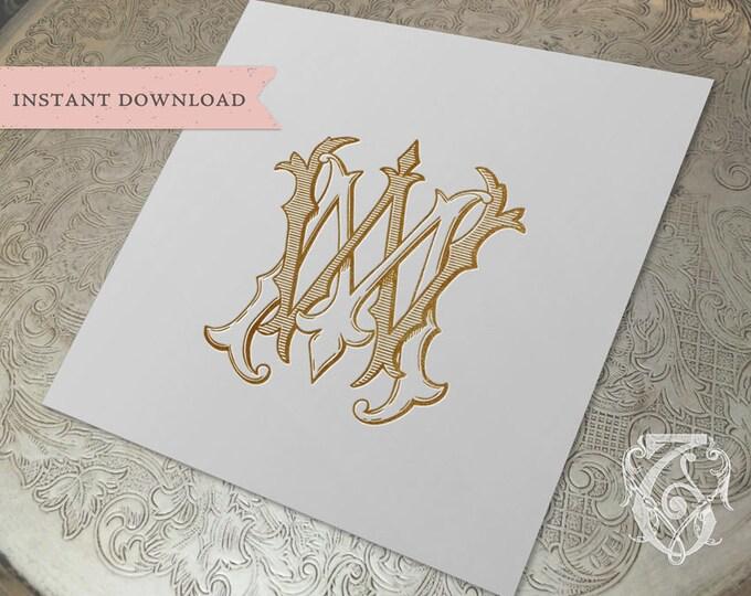 Vintage Wedding Monogram MW WM Digital Download M W
