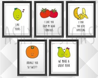 SET OF 5 - Fruit & Veggie Quotes - Funny Puns for Boyfriend Husband Gift Idea - Birthday Anniversary Valentine's - 8x10in 200x225mm - FVS05