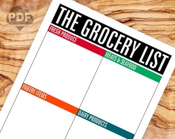 The Grocery List NO LINES printable PDF file (instant download)
