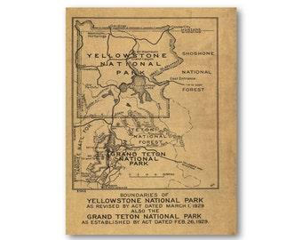 1929 Yellowstone National Park Boundary Map - Grand Teton National Park Boundary Map | Reproduction Print |