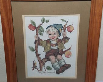 "Finished counted cross stitch ""Boy in a Apple Tree"" framed and matted"
