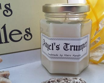 Angel's Trumpet scented candle, handmade by Klairs Kandles, using natural soy wax, great for gifts, vegan friendly