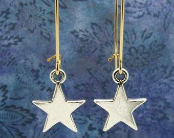 star earrings, star jewelry, sterling silver star earrings,  silver stars earrings, celestial gift, holiday earrings, astrology gift