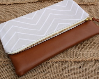 Gray Chevron/Faux Leather Clutch