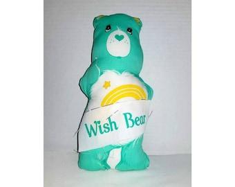 Vintage Care Bear,Wish Bear,Green Care Bear,Stitch & Sew Carebear,Wish Carebear,Care Bear,Carebear,Nostalgia,80s Toys,Nursery,1980s