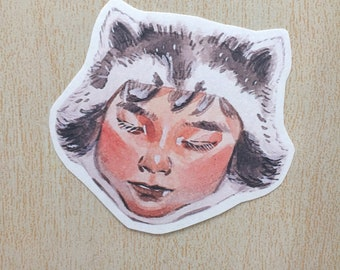 kidanimal Matte Art Sticker -Raccoon Boy