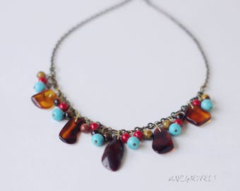 Short necklace, Amber necklace, Turquoise and coral necklace, Bronze necklace