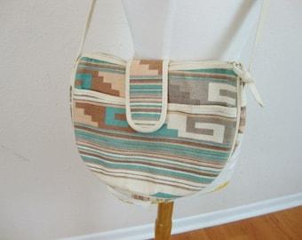 Vintage Vegan Beige Ethnic Pastel Colors Geometric Bohemian Bag Cross Body Purse
