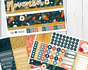 November Monthly Sticker Kit - Monthly Calendar Planner Stickers for use with ERIN CONDREN LIFEPLANNER™ or Recollections Planner