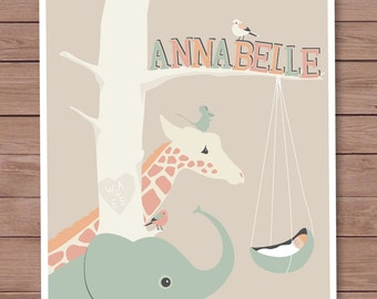 8 X 10 Personalized childrens room art, zoo animals gazing at a newborn, baby shower gift, nursery art