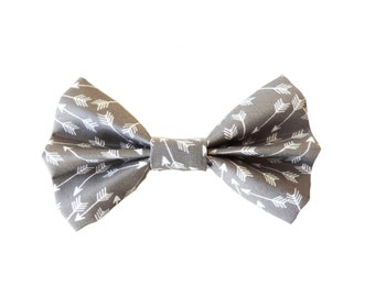 Grey and White Arrow Fabric Bow Hair Clips or Bow Ties - dainty and Dapper - Grey and White