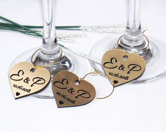 Wedding wine charms | Etsy