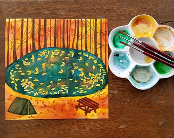 Original watercolor painting Autumn fall leaves at the lake Forest landscape Camping art illustration Burnt orange teal green wall decor