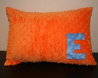 Toddler Pillow - Orange - with Custom Letter