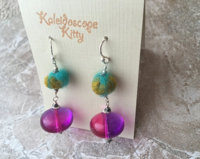 Vintage Lucite, Felted Wool, and Bali Silver Earrings