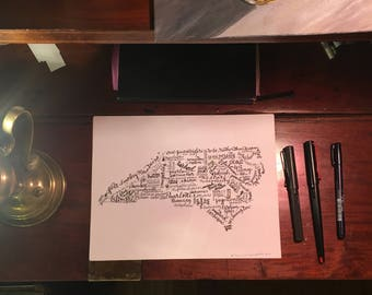 "North Carolina wall art hand-lettered print Biltmore Charlotte Tar Heel Raleigh Kitty Hawk barbecue 8.5"" x 11"""