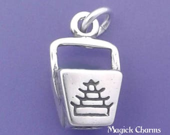 CHINESE FOOD Charm .925 Sterling Silver Pendant, Take Out, To Go Box - d35018