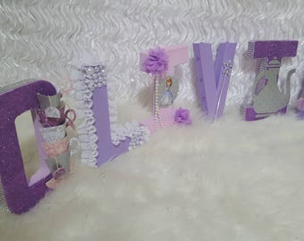 Sofia The First Inspired Letters ~Tea Party Letters~Birthday Party Props~Decorative Letters