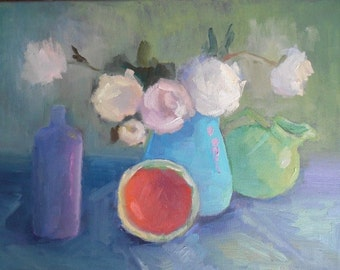 "Flower Oil Painting, Impressionist Still Life, Floral Still Life, Daily Painting, 14x18x.75"" by Carol Schiff Studio"